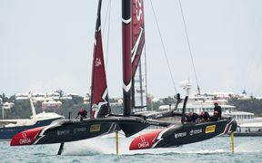 Team New Zealand races against Oracle Team USA , 24 June.