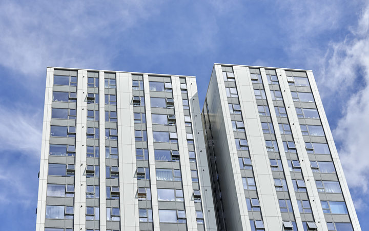 The Burnham residential tower block is seen on the Chalcots Estate in north London, where five of the residential towers have been identified as having combustible cladding.