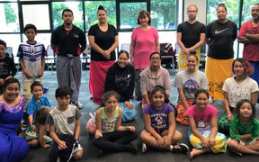 A Siva Samoa workshop group at Pasifika Education Centre.