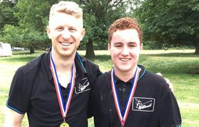 Nick Hornstein and Robbie Hollander after winning the World Egg-Throwing Championships.