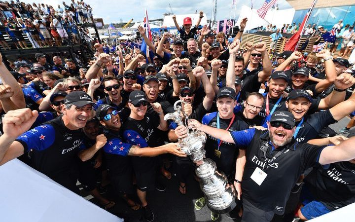 Team NZ is bringing the Auld Mug home after 14 years away with a 7-1 win over Oracle Team USA in Bermuda.