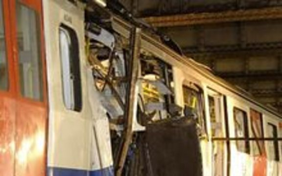 This image was taken on 7th July 2005. It shows the wrecked London Underground train at Aldgate tube station  where paramedic Sandie Davis Roberts worked to save lives