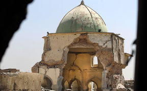 A picture taken on 29 June, 2017, shows the destroyed Great Mosque of al-Nuri in Mosul - destroyed by militants in the clash between Iraq and Islamic State.
