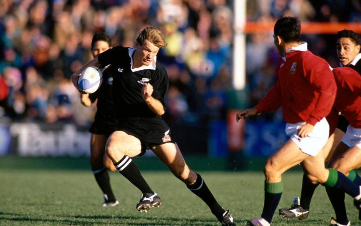 All Black legend John Kirwan in action against the Lions during the 1993 tour.