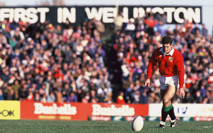 Lions captain Gavin Hastings about to take a kick during the 1993 Lions vs All Blacks clash in Wellington.