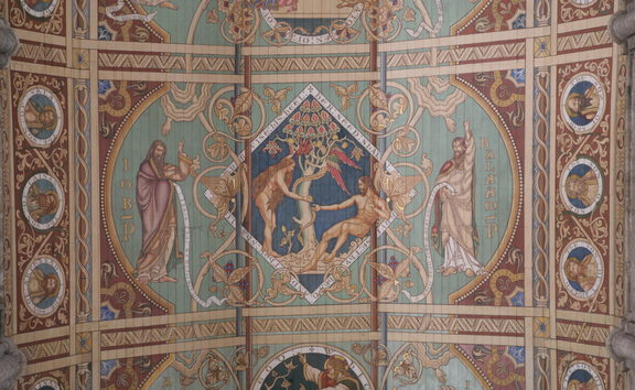 One of the 12 panels of the ceiling in the nave of Ely Cathedral, England