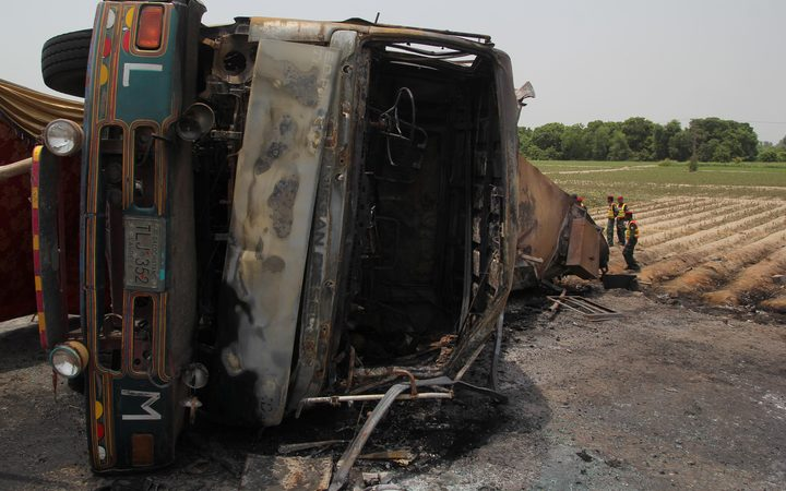 A fuel tanker burst into flames near Ahmedpur East, Pakistan, on 25 June.