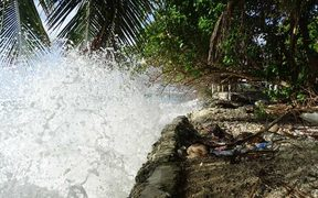 High tides in Marshall Islands in March 2016 hit a seawall.