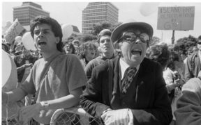 Supporters of the Homosexual Law Reform Bill protest a petition opposing it, outside Parliament on 24 September, 1985.