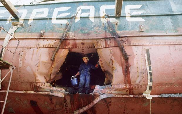 The bombed hull of the Rainbow Warrior.