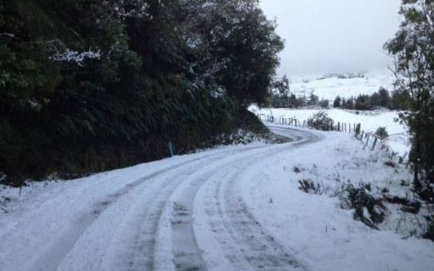 Snow on the outskirts of Gisborne, last night.