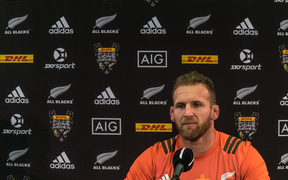 CAll Black captain Keiran Read during a presser after the captains run at Eden Park this afternoon.