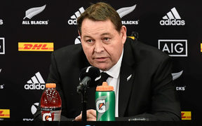 All Blacks head coach Steve Hansen speaks at the post match press conference during the 3rd rugby test match between the All Blacks and Lions at Eden Park in Auckland on Saturday the 8th of July 2017.