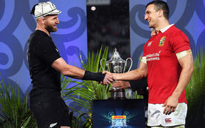Captains Kieran Read and Sam Warburton shake hands after the drawn test and series.