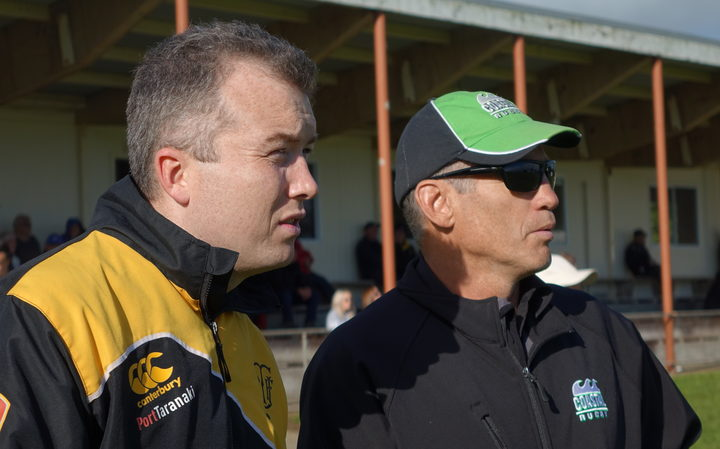 TRFU community rugby manager Glenn Noble, left, and Coastal RFC chair Brent Davies