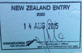 An image of a stamp in a passport, confirming residency in New Zealand.