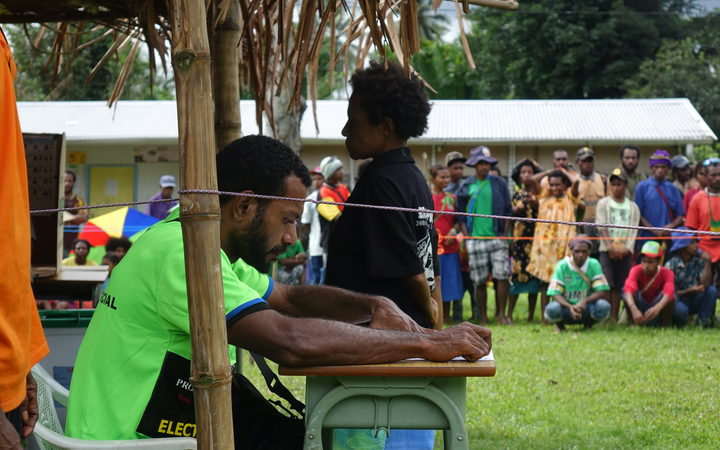 Polling in rural Morobe province, Papua New Guinea national election 2017.