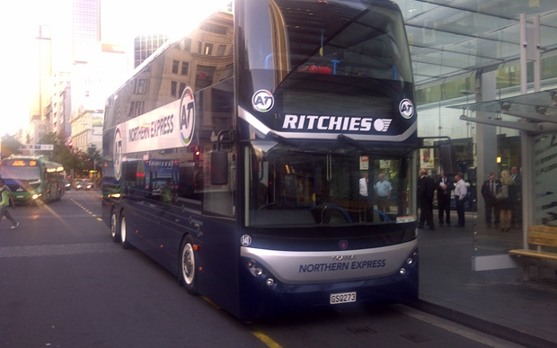 The first of Auckland's double-decker buses.