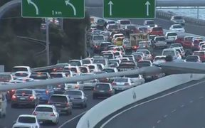 Traffic is backing up on SH1 out of Wellington due to the slip on the Ngauranga Gorge.