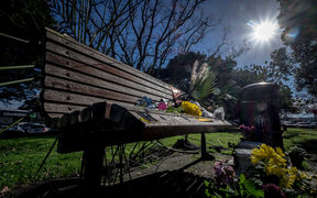 The park bench where homeless man Keith Johnson, died aged 57 on the bench he had sat on most days for the past four years in St Peter's cemetery in Onehunga on July 1.