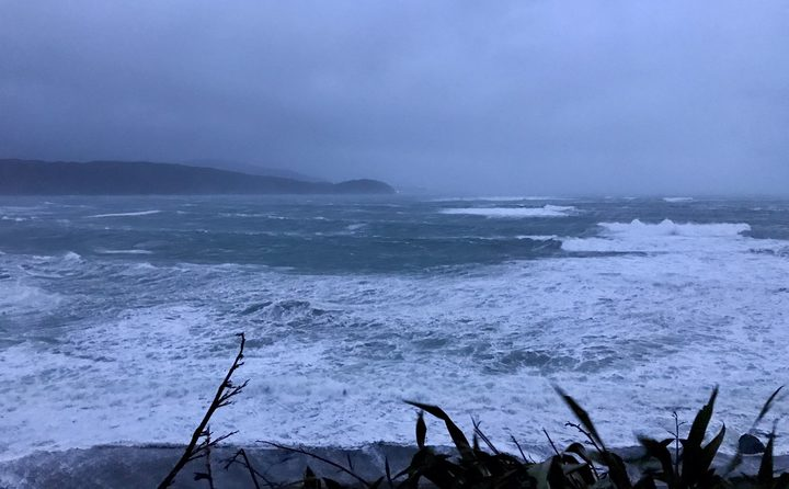 Wild waves on Wellington's south coast on Thursday 13 July