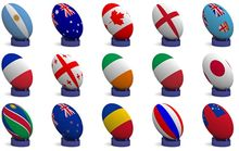 Rugby balls decorated as national flags
