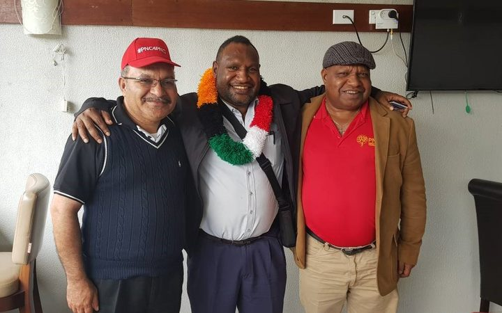 People's National Congress members Peter O'Neill, James Marape and William Powi, the incumbent MPs for Ialibu-Pangia, Tari-Pori and the Southern Highlands regional seat respectively.