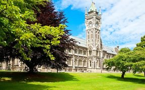 Clocktower of University of Otago Registry Building in Dunedin, New Zealand.