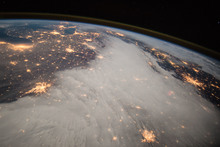 A photo from the International Space Station shows lights in the central US (December 2014).