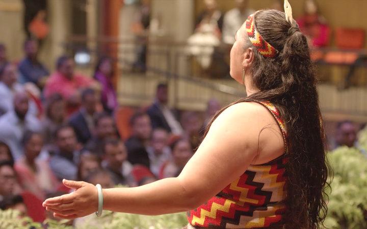 A kaikaranga welcomes new Kiwis at a citizenship ceremony in Manukau. Photo / Diego Opatowski