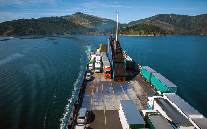 Cars and trucks arriving on the ferry from Wellington to Picton (file photo)