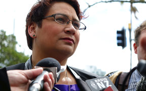 Metiria Turei speaking to media at the University of Auckland.