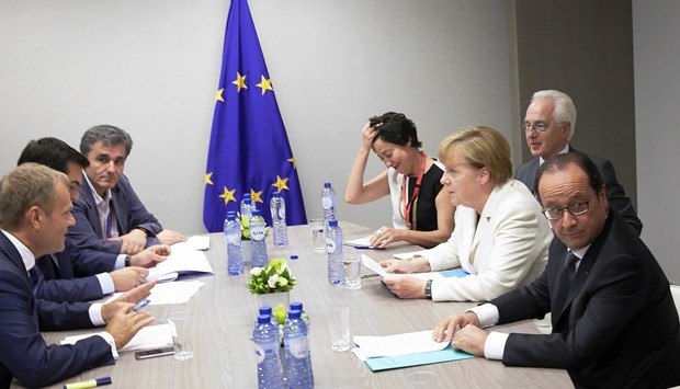 EU council president Donald Tusk Greek Prime Minister Alexis Tsipras, Greek Finance Minister Euclid Tsakalotos, French President Francois Hollande and German Chancellor Angela Merkel attend a meeting in Brussels.