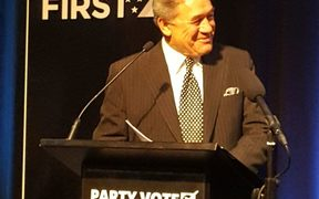 Winston Peters giving his keynote address at the New Zealand First conference in Auckland.