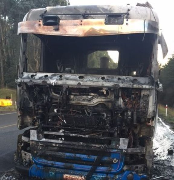 The truck caught fire as it travelled south towards Dunedin on State Highway 1.