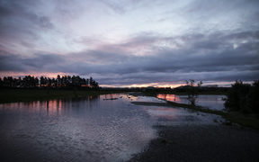 Sunset over a flooded Waimate