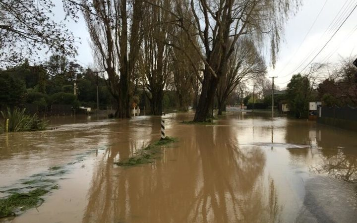 Flood waters on Eastern Terrace in Christchurch this morning.