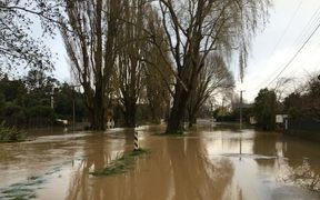 Flood waters on Eastern Terrace in Christchurch.