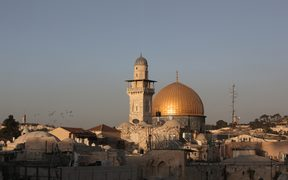 The Dome of the Rock, in the compound known to Muslims as al-Haram al-Sharif (Noble Sanctuary) and to Jews as Temple Mount, in Jerusalem's old city.