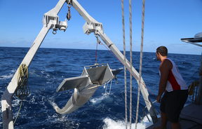 The Algalita Marine Research collecting plastic in the South Pacific Ocean.