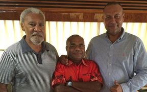 Sam Basil (Leader of Pangu) and William Samb (Member-elect for Goilala) meeting with Sir Mekere Morauta
