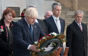 Boris Johnson at the Pukeahu war memorial in Wellington.