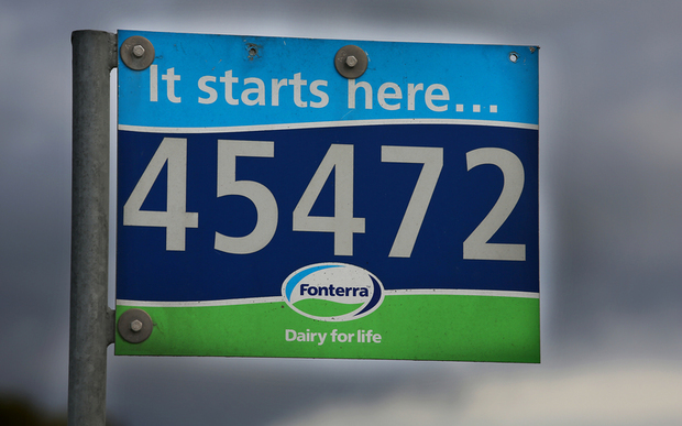 Fonterra sign on a farm. Rural Rapid Number.