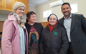 There was heavyweight support on hand for Debbie Ngarewa-Packer, second left, and Dr Lance O'Sullivan's pop-up clinic from the National Party's Whanganui candidate Harete Hipango and former Maori Party co-leader Dame Tariana Turia.