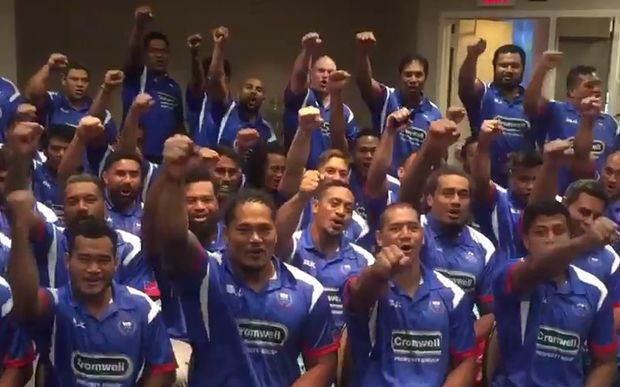 Screengrab from a get well video message Manu Samoa sent to Andrew Strawbridge