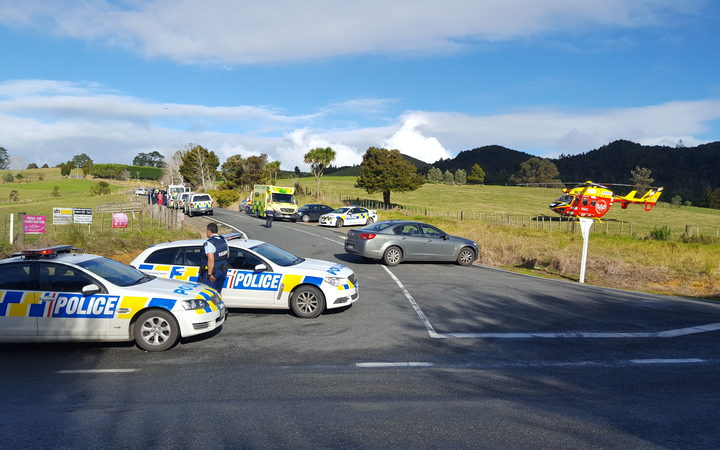 The scene at the Whareora end of police cordon