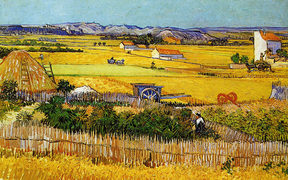 "Van Gogh: The plain ""La Crau"" near Arles with Montmajour in the background"