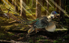 An artist's impression of Zhenyuanlong in a Cretaceous forest.