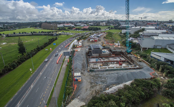 Watercare's construction site on Auckland's North Shore where a massive underground tank is being built.