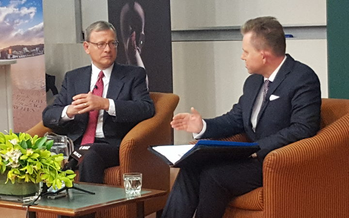 John Roberts in conversation with VUW Dean of Law Mark Hickson.